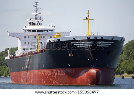 Tanker ship on Kiel Canal, Germany - stock photo