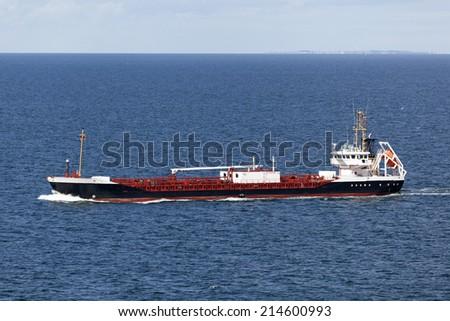 Tanker ship on the Baltic Sea - stock photo