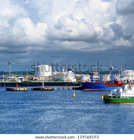 Tankers in cargo port fuel terminal. Ventspils terminal, Latvia - stock photo