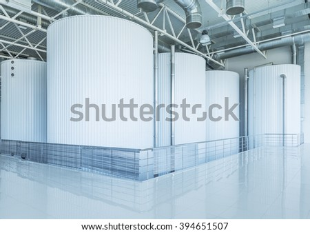 Tanks for brewing beer on the plant territory. - stock photo