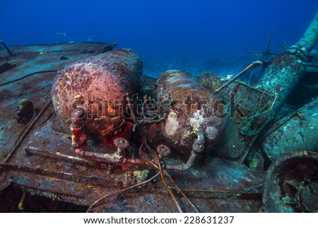 Tanks on the deck of the Willaurie ship wreck - stock photo