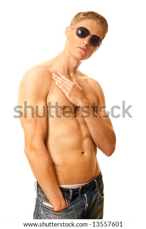 Tanned guy in sunglasses - stock photo