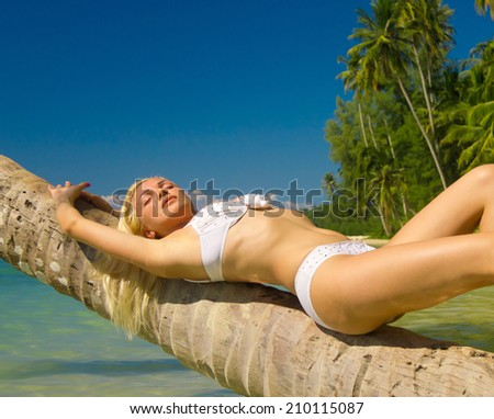 Tanning Pleasure Under Palm  - stock photo