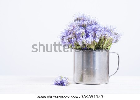 tansy flowers in tin cup, white wood table background - stock photo