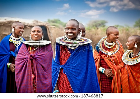 TANZANIA, AFRICA-FEBRUARY 9, 2014: Masai women with traditional  ornaments, review of daily life of local people on February 9, 2014. Tanzania. - stock photo