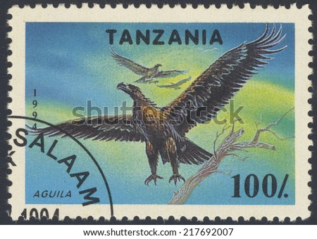 TANZANIA - CIRCA 1994: a stamp printed in Tanzania shows Osprey, Pandion Haliaetus, Bird of Prey, circa 1994 - stock photo
