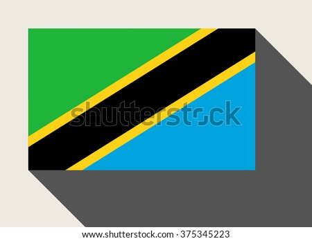 Tanzania flag in flat web design style. - stock photo