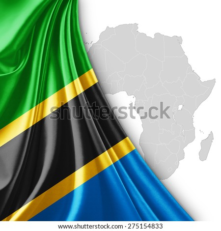Tanzania flag of silk with Africa map and white background - stock photo