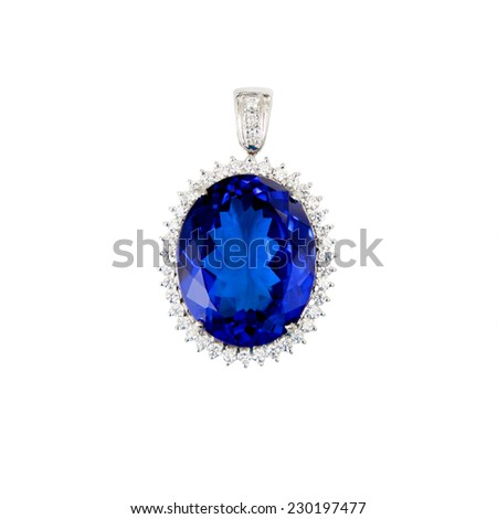 Tanzanite, Blue Gemstone, Pendant, with Diamonds, Isolated on White Background - stock photo