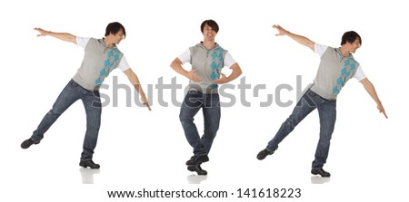 Tap dancer in blue jeans and tap shoes doing a combination of steps on a white background and floor - stock photo