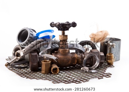 Tap for water connections for pipes, sewerage, flax, iron grid on a white background - stock photo