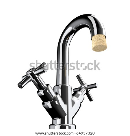 tap with cork, save water should be possible - stock photo