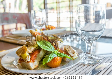 tapas appetizer plated in small outdoor restaurant - stock photo