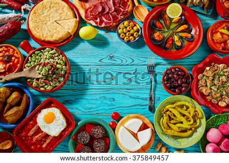 Tapas from spain mix of most popular recipes of Mediterranean cuisine - stock photo
