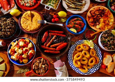 Tapas from spain varied mix of most popular tapa mediterranean food - stock photo