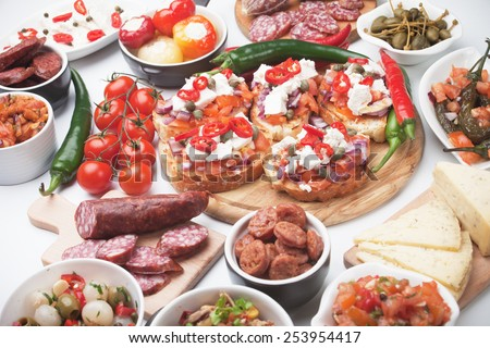 Tapas or antipasto food, mediterranean appetizers great for parties - stock photo
