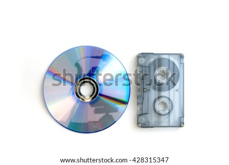 tape cassette and digital compact disc isolated on white background - stock photo