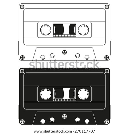 Tape cassette isolated on white background. Raster version - stock photo