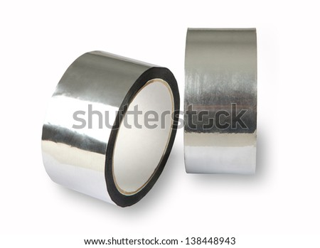 Tape for padding, insulation, the forming of panels, high initial adhesion, aluminium adhesive tape represents aluminium foil with acrylic adhesive coating. - stock photo