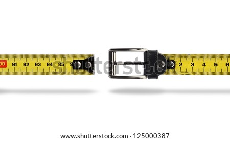 Tape measure buckle belt for weight loss waist girth measurement - stock photo