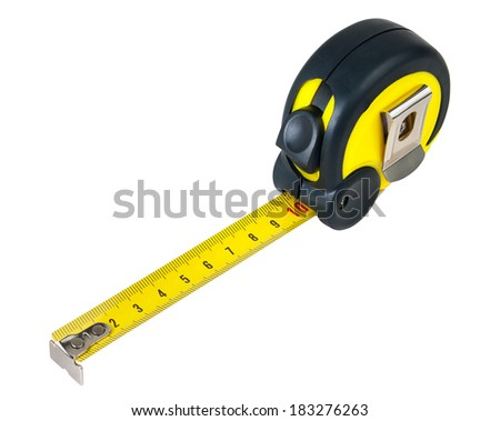 Tape measure isolated on white with paths - stock photo