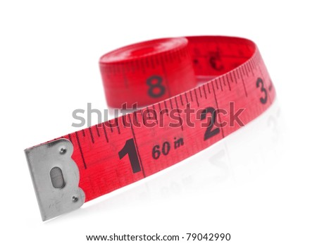 Tape measure on a white background with space for text - stock photo