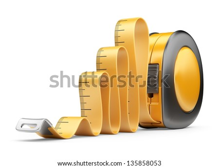 Tape measure ruler. 3D Icon isolated on white background - stock photo