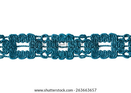 Tape of blue lace isolated over white - stock photo