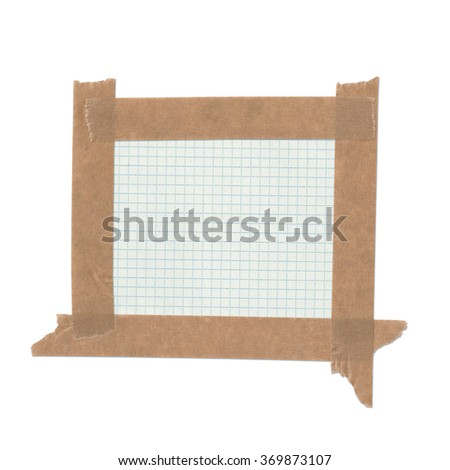 Taped paper. Notebook page - stock photo