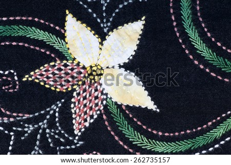 tapestry flower fabric pattern for background - stock photo