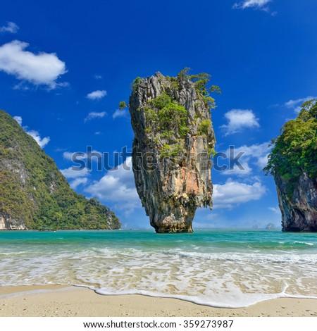 Tapu island near Phuket in Thailand. Famous landmark and famous travel destination - stock photo