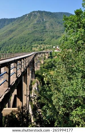 Tara bridge in Monte Negro - stock photo