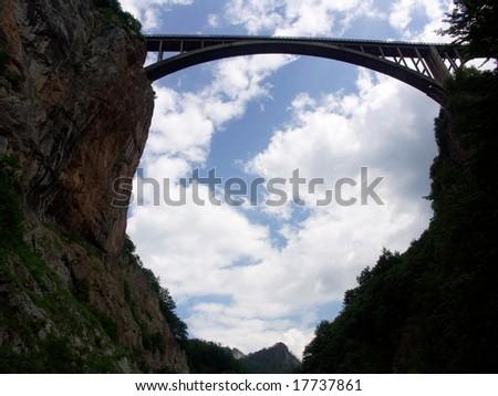 Tara Bridge is arch bridge over the Tara River Montenegro. - stock photo
