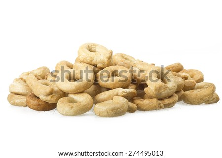 Taralli on the  white,Traditional Italian snack from Puglia - stock photo