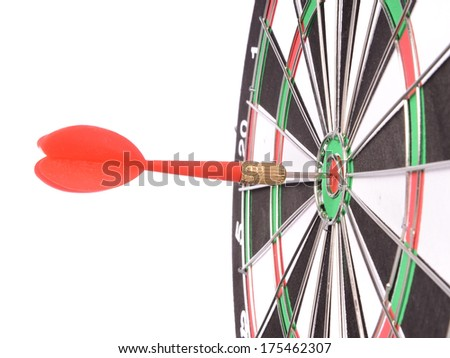 Target aim glossy colored mark with darts in the center - stock photo