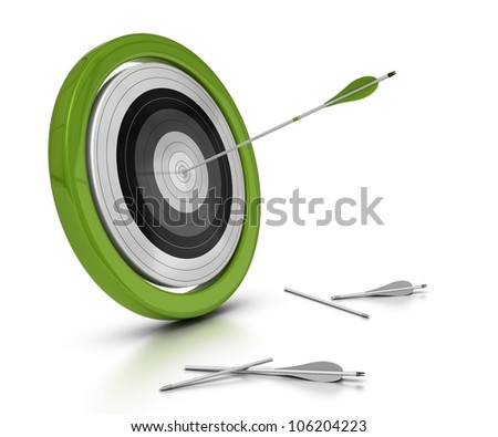 target and arrows concept, one arrow hitting the center of objective and two other one failed to achieved they objective, white background - stock photo