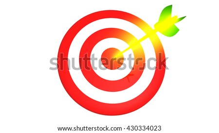 Target and golden arrow, business concept 3D illustration - stock photo