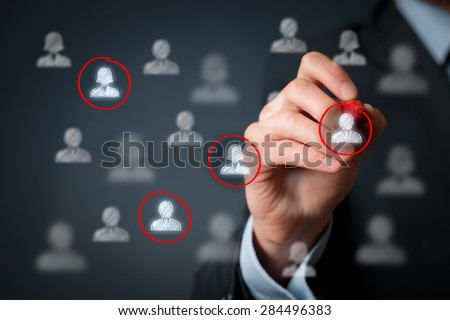 Target audience, marketing segmentation, customers care, labour market, customer relationship management (CRM) and team building concepts.