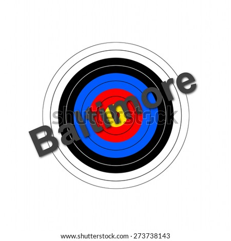 Target background with the writing Baltimore over it. - stock photo