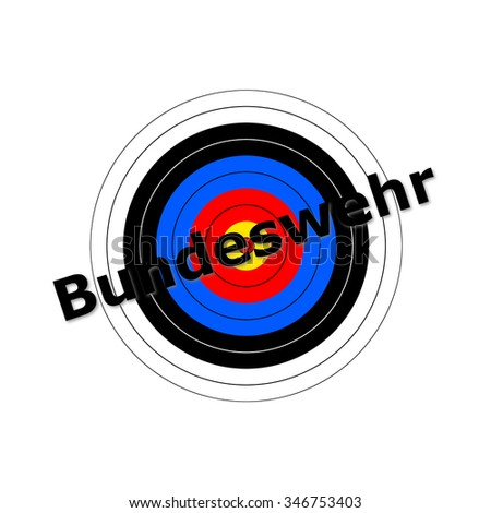 Target background with the writing Bundeswehr over it. - stock photo