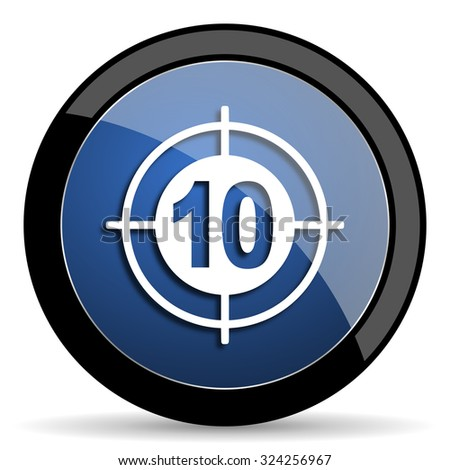 target blue circle glossy web icon on white background, round button for internet and mobile app - stock photo