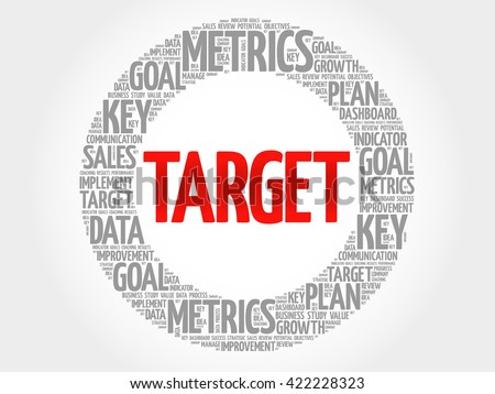 Target circle word cloud, business concept background - stock photo