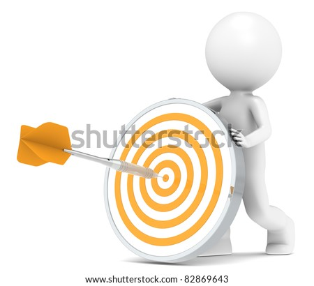 Target. 3D little human character with a Dart Board. Orange and Steel Dart - stock photo
