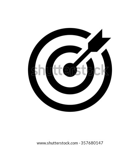 target icon. successful shot in the darts target. isolated on white background - stock photo