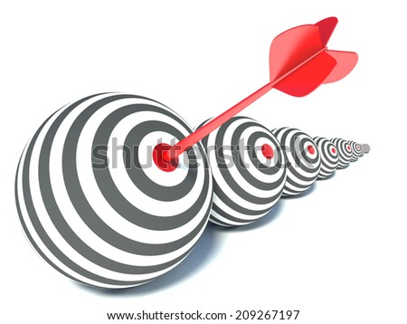 target in the form of a sphere and arrow - stock photo