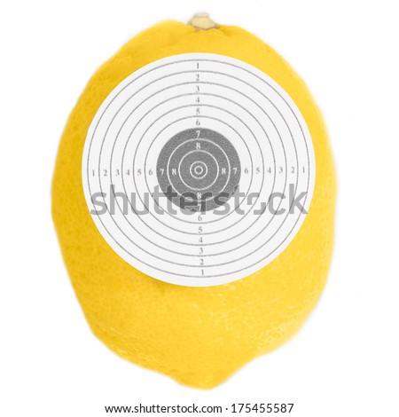 Target ripe lemon yellow  isolated white background - stock photo