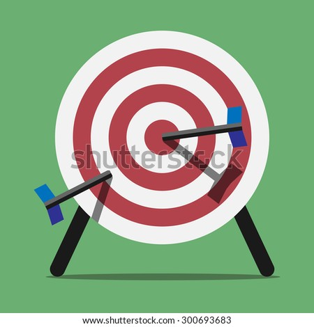 Target spiked with arrows or darts standing on green background. Flat style - stock photo