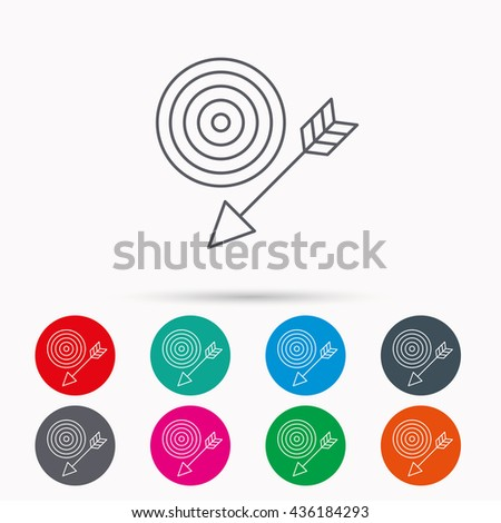 Target with arrow icon. Dart aim sign. Linear icons in circles on white background. - stock photo