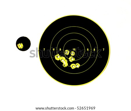 target with bullet holes in it - stock photo