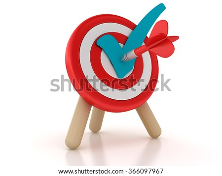 Target with Check Mark - High Quality 3D Rendering - stock photo
